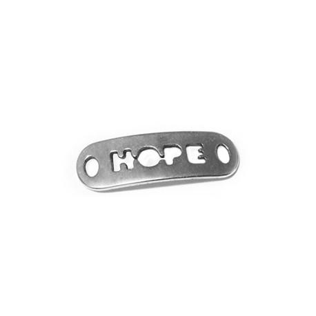 "Conector Chapa de Metal Zamak ""HOPE"" 24x8mm"