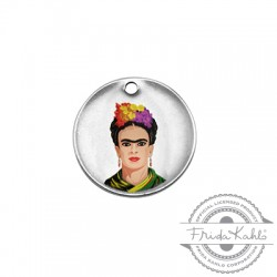 Colgante de Metal Laton Redondo con Frida Kahlo 20mm