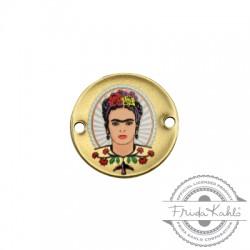 Conector de Metal Laton Redondo con Frida Kahlo 20mm