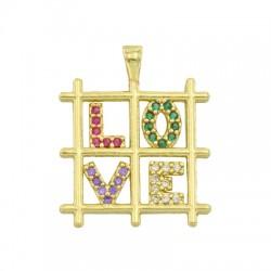 Colgante de Metal Laton Cuadrado ''LOVE'' con Circon 17mm